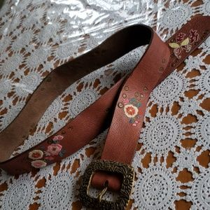 Lucky Brand brown leather embroidered belt 30